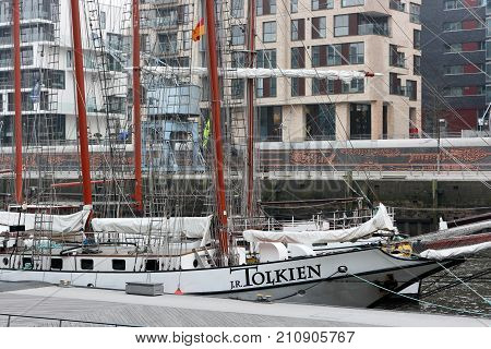 Hamburg, Germany - March 16, 2012. Sailing ship J. R. Tolkien in 'HafenCity' modern district of Hamburg.