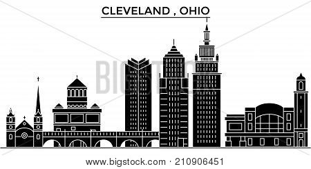 Usa, Ohio Cleveland architecture vector city skyline, black cityscape with landmarks, isolated sights on background