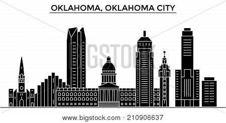 Usa, Oklahoma, Oklahoma City architecture vector city skyline, black cityscape with landmarks, isolated sights on background
