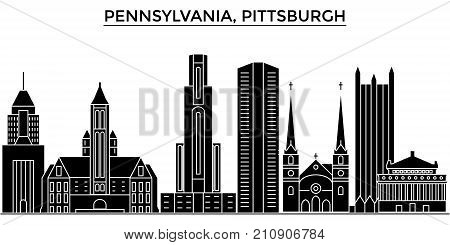 Usa, Pennsylvania  Pittsburgh architecture vector city skyline, black cityscape with landmarks, isolated sights on background