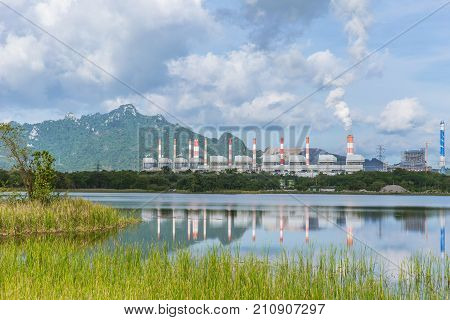 Power Plant With Park Nature Mountain And Lake Green Good Environment At Mae Moh Steam Power Station