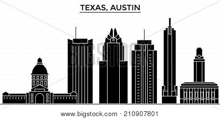 Usa, Texas Austin architecture vector city skyline, black cityscape with landmarks, isolated sights on background
