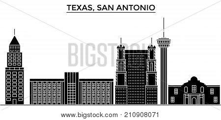 Usa, Texas San Antonio architecture vector city skyline, black cityscape with landmarks, isolated sights on background