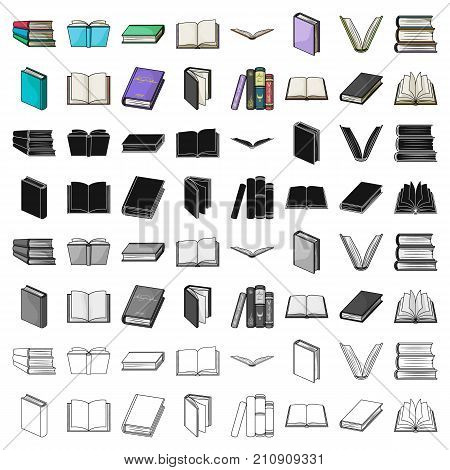Books set icons in cartoon design. Big collection of books vector symbol stock illustration