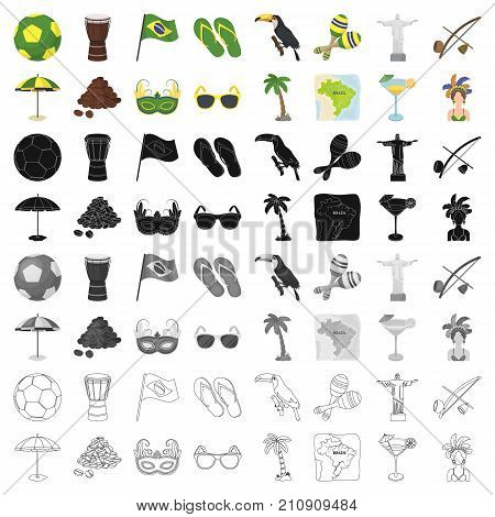 Brazil country set icons in cartoon design. Big collection of Brazil country vector symbol stock illustration