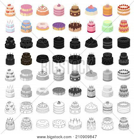 Cakes set icons in cartoon design. Big collection of cakes vector symbol stock illustration