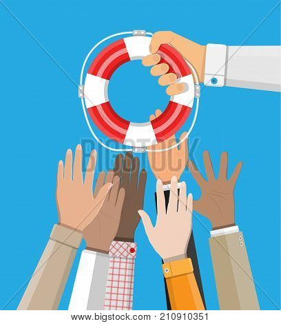 Drowning businessmans get lifebuoy from another hand. Helping business to survive. Business help, support, assistance and investment. Vector illustration in flat design