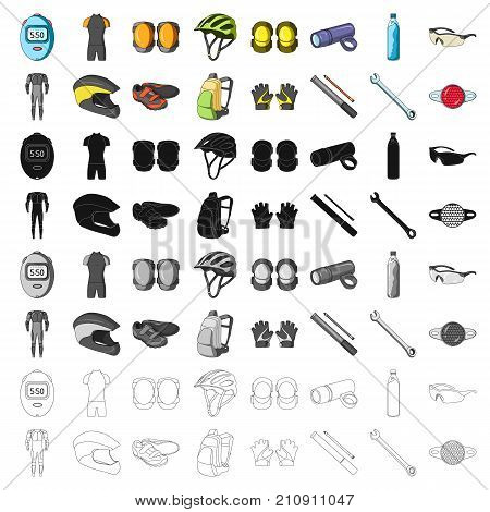 Gloves, suit, helmet, sneakers and other equipment. Cyclist outfit set collection icons in cartoon style vector symbol stock illustration .