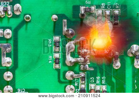 PCB circuit board electricity short circuit fire and burning
