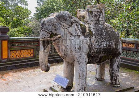 Elephant At Khiem Tomb Of Tu Duc In Hue Vietnam
