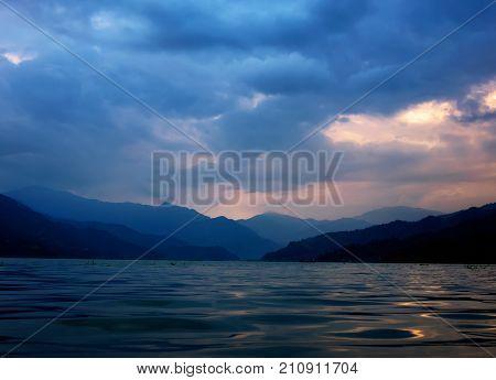 Phewa Lake and mountains on sunset, Pokhara, Nepal