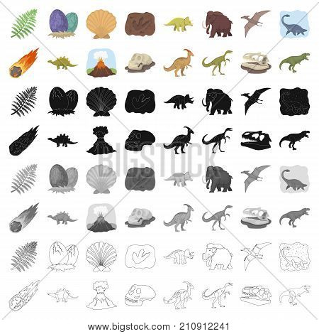 Dinosaurs and prehistoric set icons in cartoon design. Big collection of dinosaurs and prehistoric vector symbol stock illustration