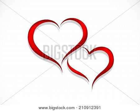 Two abstract red hearts - vector illustration