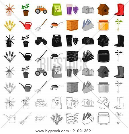 Farm set icons in cartoon style. Big collection of farm vector symbol stock