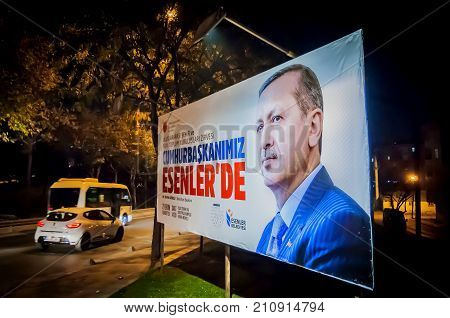 ISTANBUL, TURKEY. October 19, 2017. A political ad with portrait of the Turkish president Recep Tayyip Erdogan in central Istanbul.