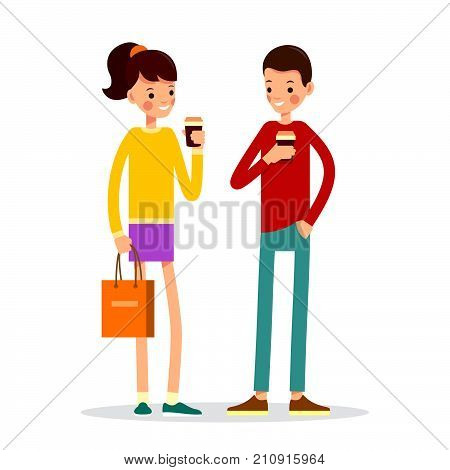 Man And Woman Are Standing Drinking Hot Drink