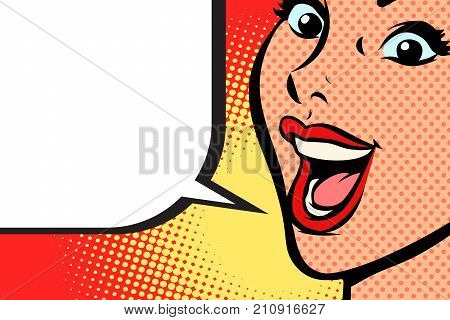 Close-up pop art woman face smile. Comic book cartoon pop art retro vector illustration drawing