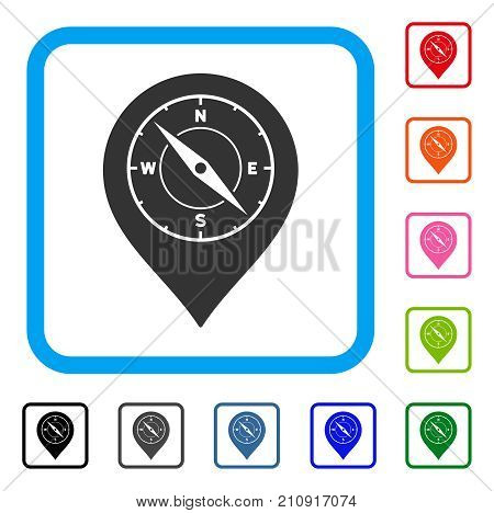 Compass Map Marker icon. Flat gray pictogram symbol inside a light blue rounded square. Black, gray, green, blue, red, orange color additional versions of Compass Map Marker vector.