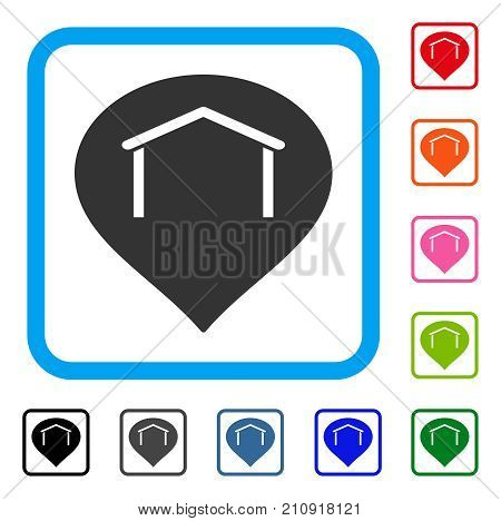 Hangar Map Marker icon. Flat grey iconic symbol inside a light blue rounded square. Black, gray, green, blue, red, orange color versions of Hangar Map Marker vector.