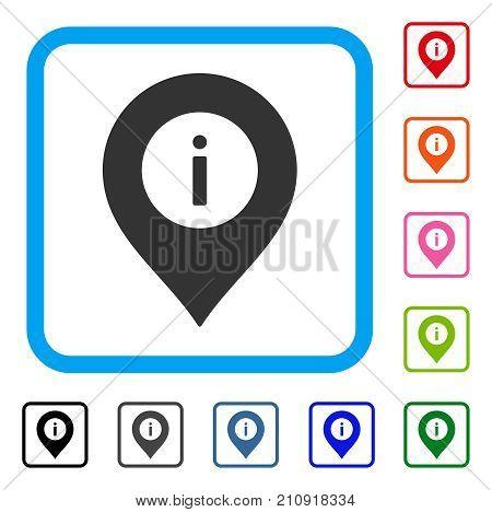 Info Center Marker icon. Flat grey pictogram symbol inside a light blue rounded rectangle. Black, gray, green, blue, red, orange color versions of Info Center Marker vector.
