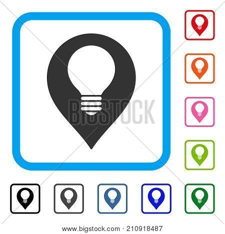 Lamp Bulb Marker icon. Flat gray pictogram symbol in a light blue rounded rectangular frame. Black, gray, green, blue, red, orange color variants of Lamp Bulb Marker vector.