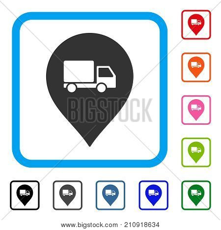 Lorry Marker icon. Flat gray pictogram symbol in a light blue rounded square. Black, gray, green, blue, red, orange color variants of Lorry Marker vector. Designed for web and app UI.