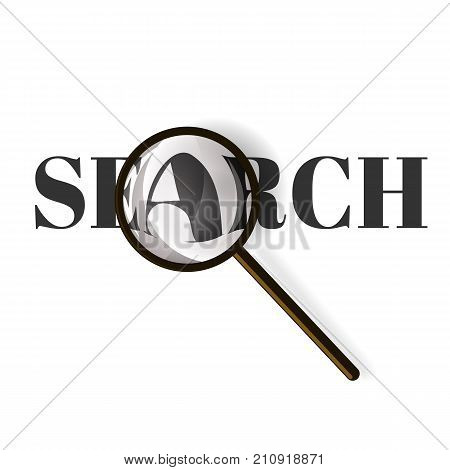 Magnifying glassRealistic magnifying glass with text search. Vector illustration on a white background.