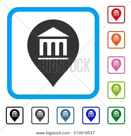 Museum Marker icon. Flat grey pictogram symbol inside a light blue rounded rectangle. Black, gray, green, blue, red, orange color versions of Museum Marker vector. Designed for web and app UI.