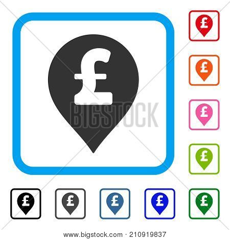 Pound Sterling Marker icon. Flat grey pictogram symbol inside a light blue rounded frame. Black, gray, green, blue, red, orange color variants of Pound Sterling Marker vector.
