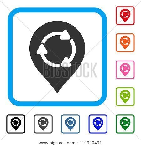 Rotation Map Marker icon. Flat gray iconic symbol in a light blue rounded frame. Black, gray, green, blue, red, orange color additional versions of Rotation Map Marker vector.