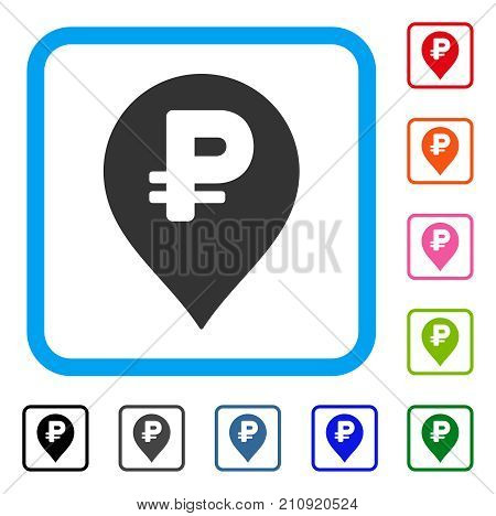 Rouble Map Marker icon. Flat gray pictogram symbol inside a light blue rounded rectangle. Black, gray, green, blue, red, orange color additional versions of Rouble Map Marker vector.