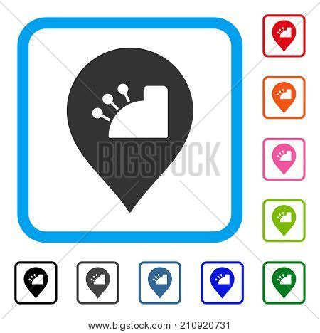 Shop Register Marker icon. Flat grey pictogram symbol in a light blue rounded rectangle. Black, gray, green, blue, red, orange color versions of Shop Register Marker vector.