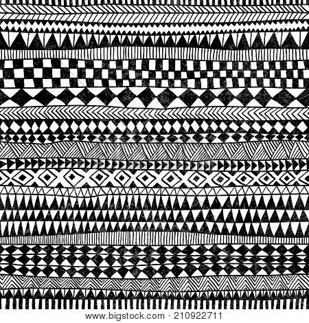 Seamless Geometric Pattern. Print For Your Textile. Ethnic And Tribal Motifs. Black And White Orname