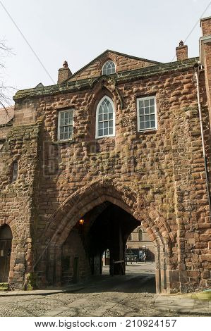 Chester, UK, April, 5 2009 : The Abbey Gateway which was built as a gatehouse around 1300 and is now a popular visitor attraction