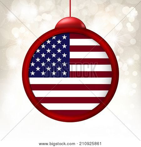 Merry Christmas Ball with Flag USA on a light beige blur background.