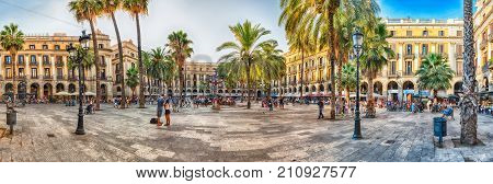 Panoramic View Of Placa Reial In Barcelona, Catalonia, Spain