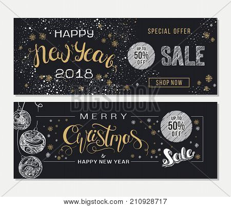 Merry Christmas and Happy New Year sale advertising. Banner template with hand drawn lettering  and design elements