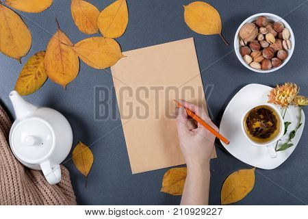 Autumn working desk. Yellow and orange leaves white cup of herbal tea teapot craft paper and nuts. Healthy snack. Woman's hand holding a pencil and writing a note. Top view.