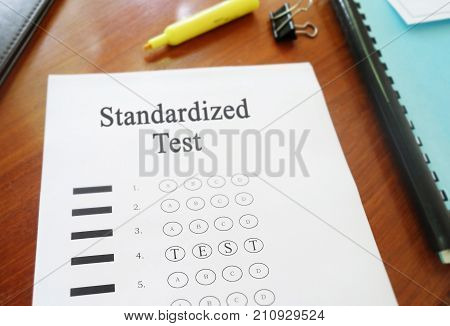 Standardized Test multiple choice exam paper with Test text