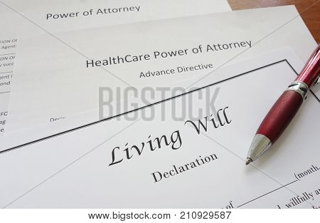 Living Will HealthCare and Power of Attorney documents