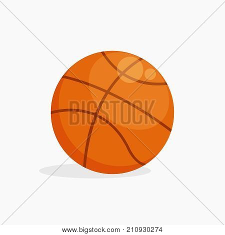 Vector Basket ball isolated on white background with shadow, flat design illustration