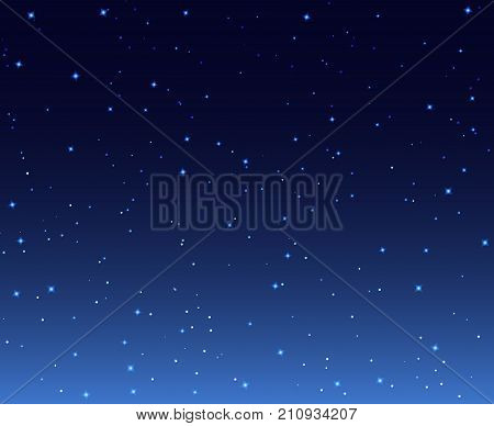 Night stars sky background illustration. Galaxy dark night starry sky wallpaper.