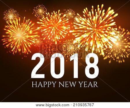 2018 New Year shiny fireworks background. Christmas firework celebrate holiday 2018.