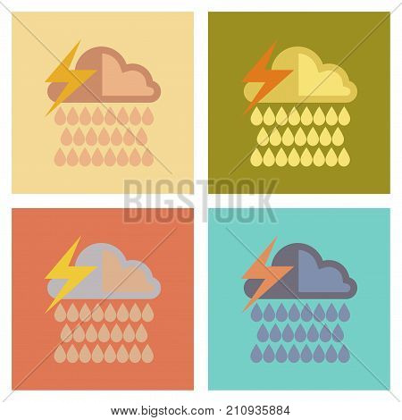 assembly of flat icons nature thunderstorm rain cloud