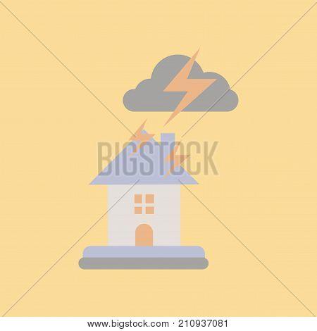 flat icon on stylish background nature lightning house
