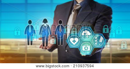 Unrecognizable database manager securing electronic healthcare data. Information technology concept for security in medical records management corporate memory audit trail in health care sector.