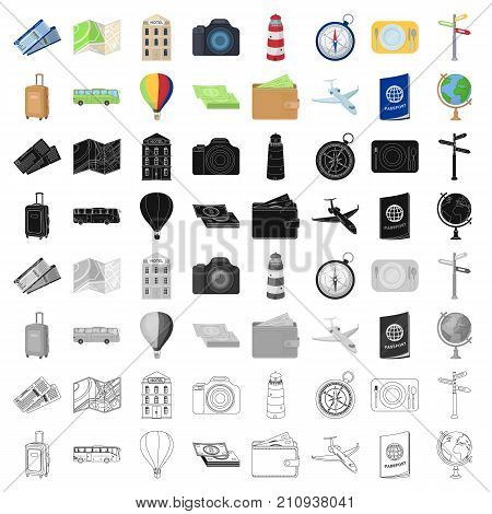 Rest and travel set icons in cartoon design. Big collection of rest and travel vector symbol stock illustration