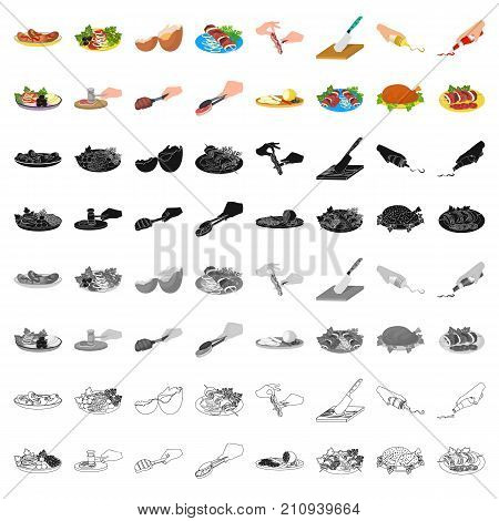 Fried chicken, cooking chop, slicing vegetables, shish kebab and other elements of cooking. Food and Cooking set collection icons in cartoon style vector symbol stock illustration .