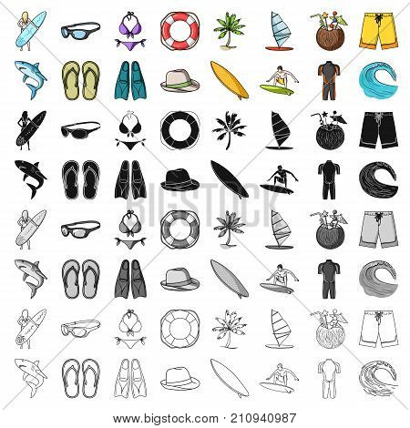Surfing set icons in cartoon design. Big collection of surfing vector symbol stock illustration