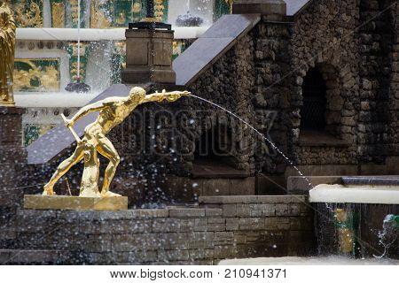 PETERHOF, SAINT-PETERSBURG, RUSSIA - JUNE 10, 2016: Fighter Borghese. The sculpture of the Grand cascade in Petergof.